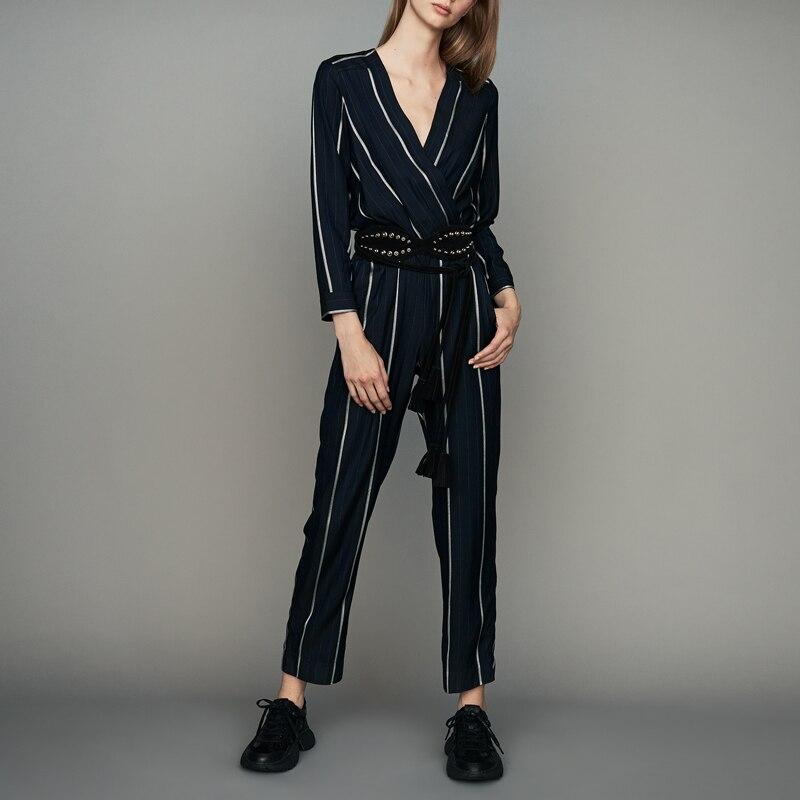 Women Jumpsuit 2019 Spring and Summer New Contrast Stripe V neck Slim Long Sleeve Jumpsuit