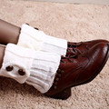 Hot Women Winter leg warmers Crochet Socks women's boots Button Knit Boot Socks Toppers Cuffs Hosiery boot socks Buttoned Wool