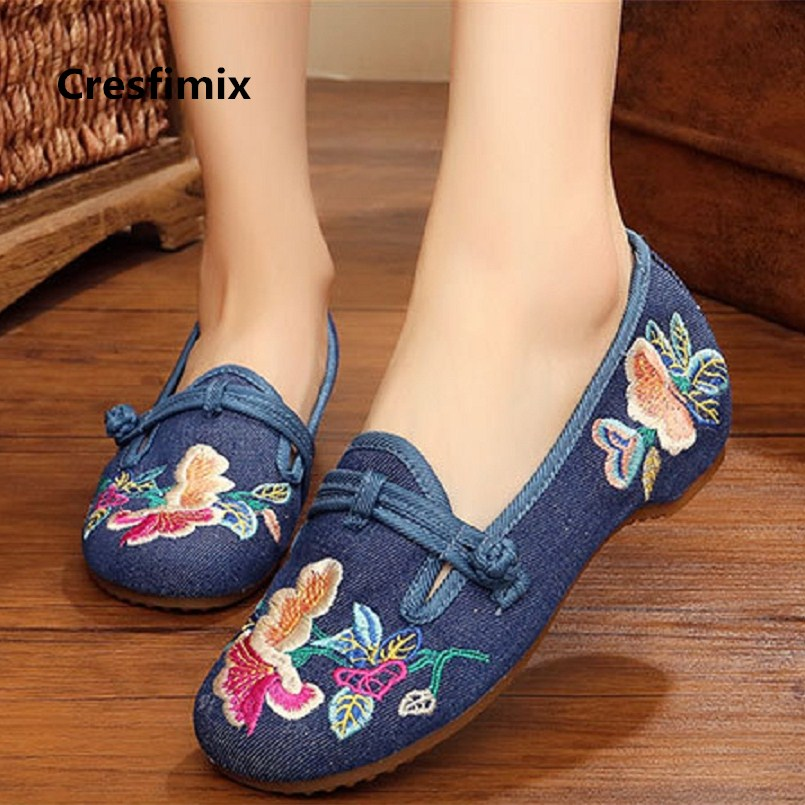 Cresfimix women cute street flat shoes lady retro blue spring summer slip on flats lady casual high quality cloth shoes c2225 spring summer flock women flats shoes female round toe casual shoes lady slip on loafers shoes plus size 40 41 42 43 gh8