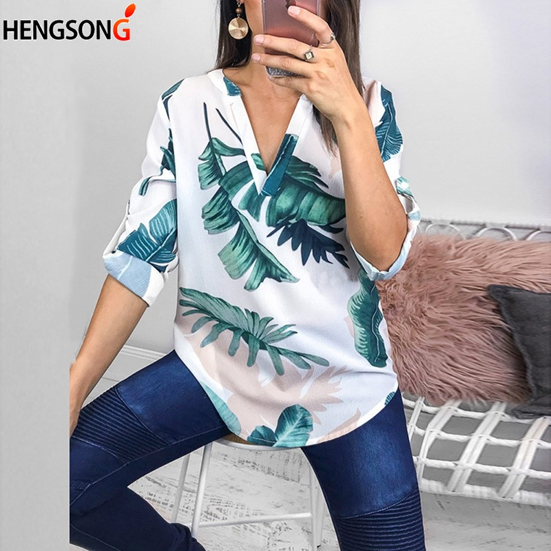 Fashion Leaves Print Women Blouse Shirt Autumn Spring Female Long Sleeve V-neck Elegant Lady Shirt Womens Tops And Blouse