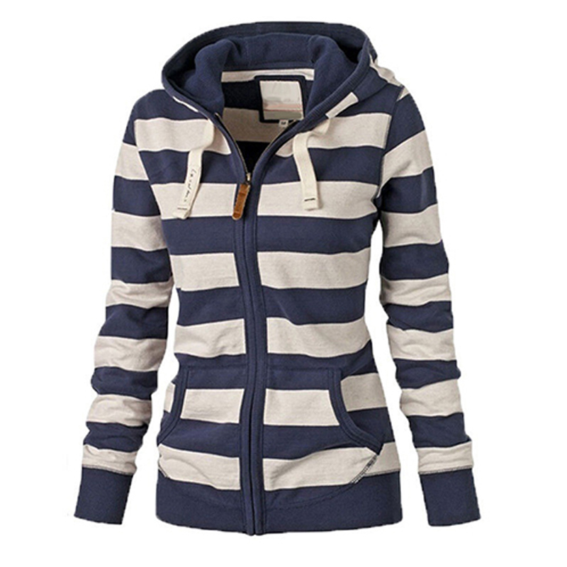 Women Warm Striped Hoodie Sweatshirt Top Hooded Pockets Jacket Zipper Coat