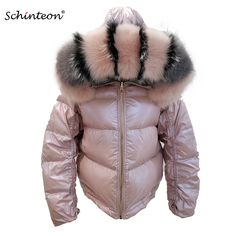 2019 Schinteon Women White Duck Down Jacket Big Real Fox Collar Hood Winter Outwear Reversible Two