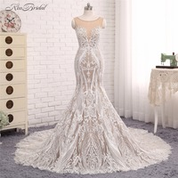 Sheer Lace Wedding Dresses 2017 Robe De Mariee Mermaid Scoop Neck Bridal Gown New Arrival Vestido