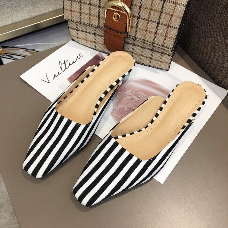 Cuadrado Mulas Del Amarillo Dedo Swa0148 Señoras De Boussac Planos Las apricot Black Mujer Fiesta Pie Zapatos Mujeres Vintage Rayas RYpA0Y