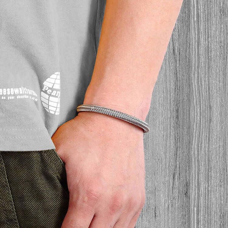สร้อยข้อมือ moocare สร้อยข้อมือหนังผู้ชายสีดำสแตนเลสสตีล Charm สร้อยข้อมือโซ่สานอุปกรณ์เสริมเครื่องประดับ