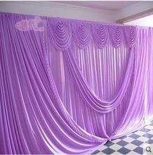 Romantic Purple 10ft*20ft wedding stage decoration Wedding Backdrop with Beatiful Swag Wedding drape and curtain