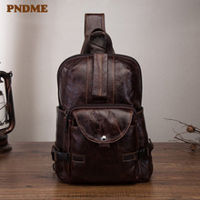 PNDME soft genuine leather mens chest bag retro outdoor large capacity oil wax messenger bags daily ipad shoulder