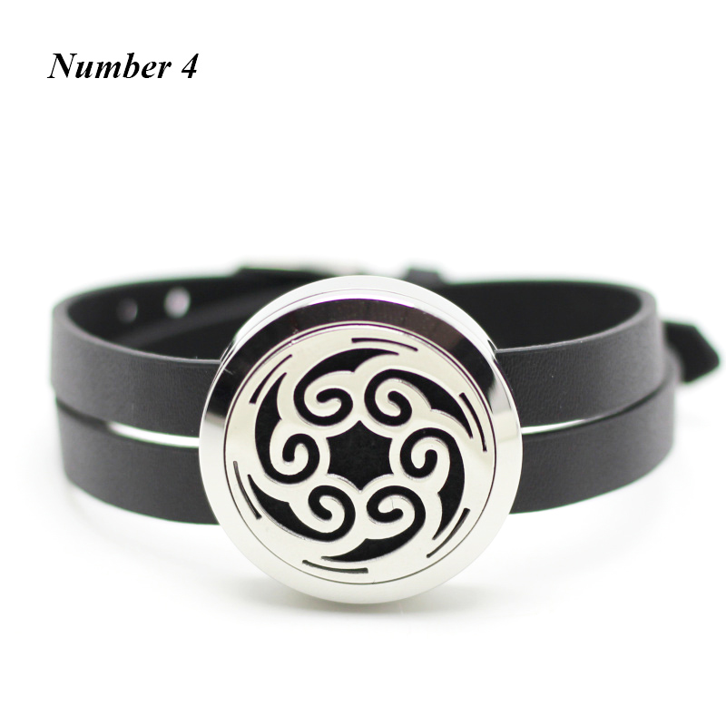 30mm Silver Aromatherapy Bracelet 316L Stainless Steel Essential Oil Diffuser leather Bracelet for Women (free with 5pcs pads)