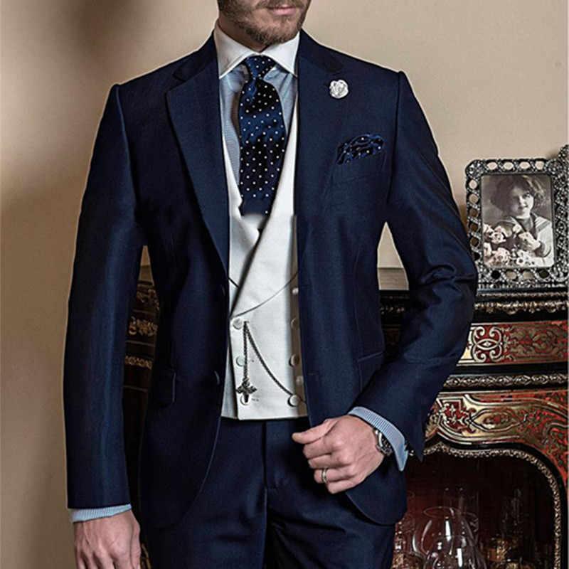 Fashionable Two Button Navy Blue Men Suit Groom Tuxedos Groomsmen Mens Wedding Suits Prom Bridegroom Jacket Pants Vest Tie Suit Prom Navy Blue Men Suitblue Man Suit Aliexpress