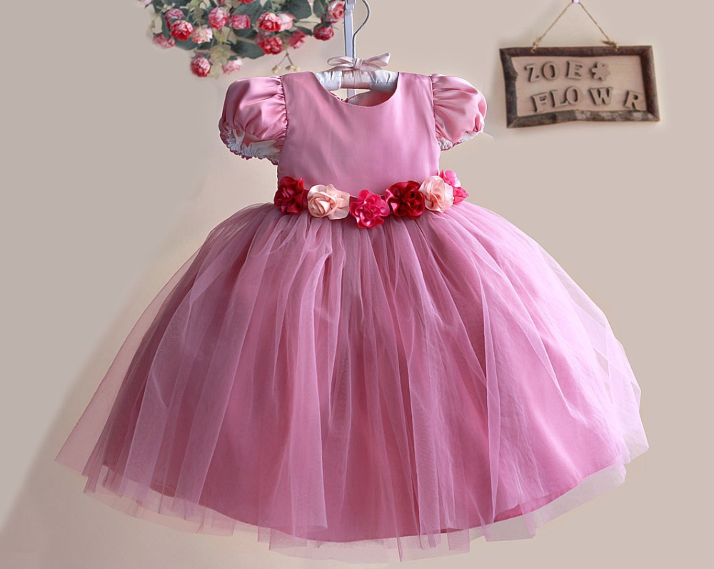 buy autumn new princess flower girl dress hot pink rose belt lace party wedding. Black Bedroom Furniture Sets. Home Design Ideas