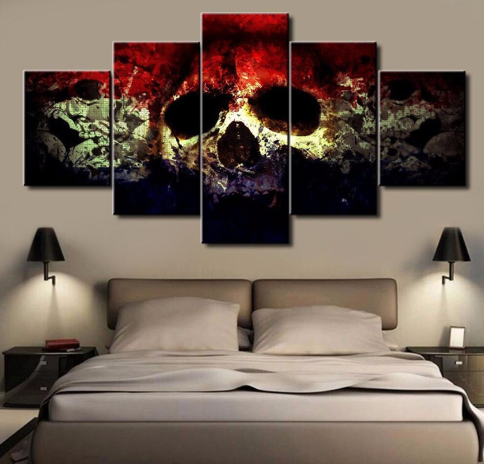 5 Panels Psychedelic Skull Punk Modern Home Wall Decor