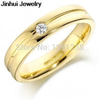 4mm Comfort Shape 375 9ct 9k yellow gold 0.045ct natural Brillian Cut H SI diamond wedding band ring jewellery womens ring