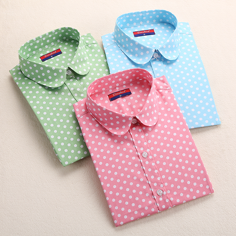 2018 Plus Size Polka Dot Baumwolle Frauen Blusen Shirt Langarm Frauen - Damenbekleidung - Foto 6