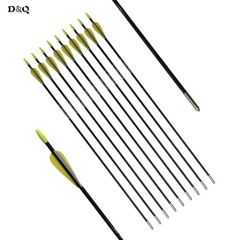 6pcs Fiberglass Arrow with Replaceable Arrowhead 31 for Archery Compound Recurve Bow Outdoor Hunting Shooting Target Practice