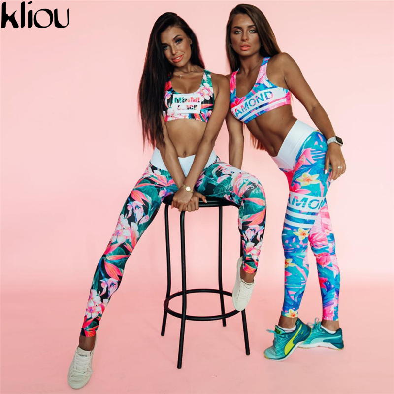 Kliou 2017 Retro Digital Printed letters workout Suit Fitness Tracksuit Women Set Female Sporting Bra Leggings