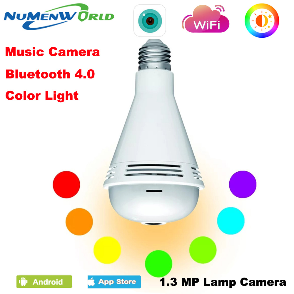 IP camera Bluetooth Music Speaker 360 Panoramin Smart Home Security Wifi VR Camera LED Bulb Camcorder Support PC Tablet Phone s15 smart led bulb bluetooth 4 0 speaker app control support