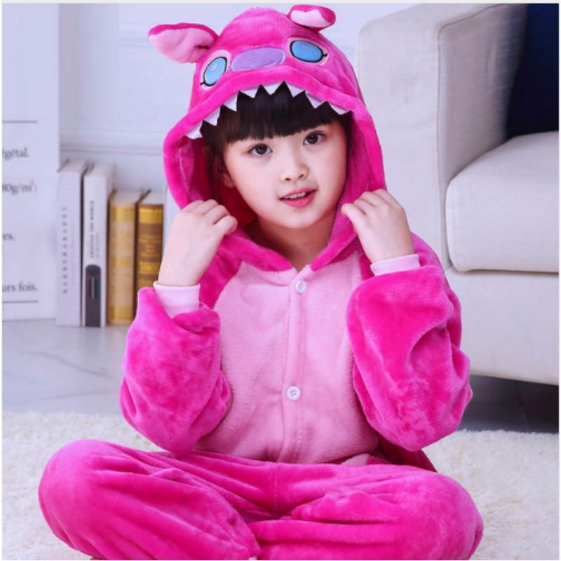 Childrens Cartoon Fleece Pajama Kids Winter Warm Conjoined Home Wear Girls Cute Cosplay Coral Fleece Flannel Sleepwear B-5974