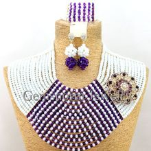 Costume Big Beaded African Jewelry Set Nigerian Wedding Crystal Jewelry Set 2015 Hot Design Free Shipping WB262