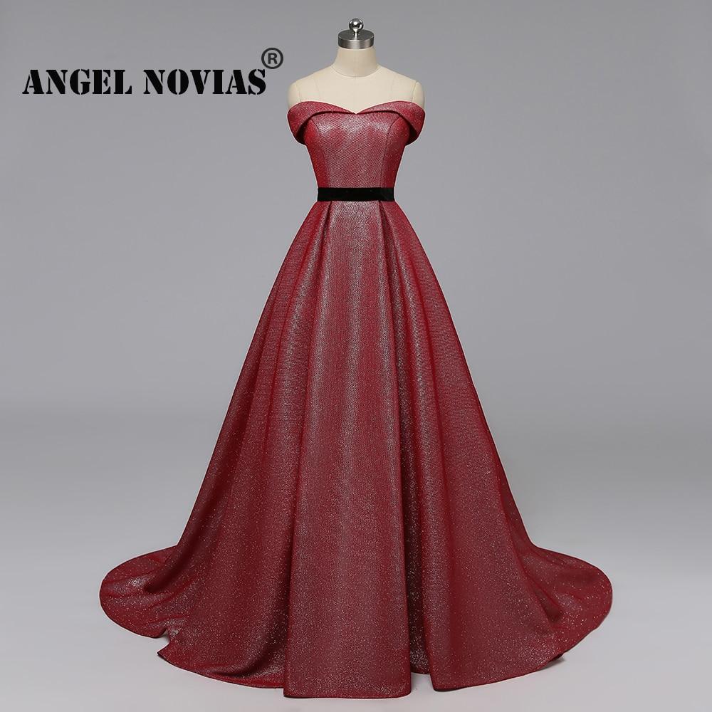 Angel Novias Long Real Image A Line Burgundy Glitters Arabic Abendkleider   Evening     Dress   2019 Winter Party   Dress   vestido elegante