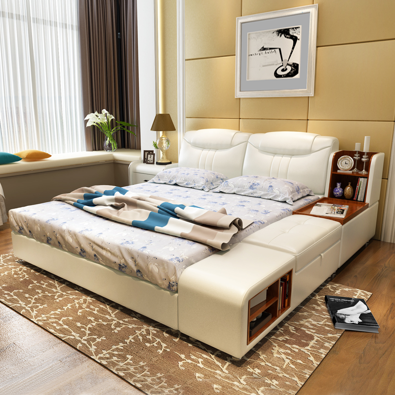 modern leather queen size storage bed frame with side cabinet stool bedroom furniture sets no mattress - Bed Frames Queen Size
