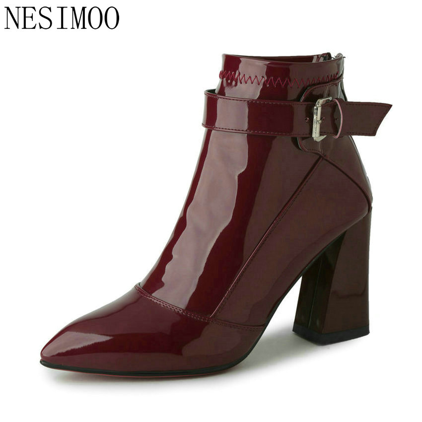 NESIMOO 2018 Pointed Toe PU Patent Leather Women Shoes Zipper Square High Heel Ankle Boots Women Motorcycle Boot Size 34-43