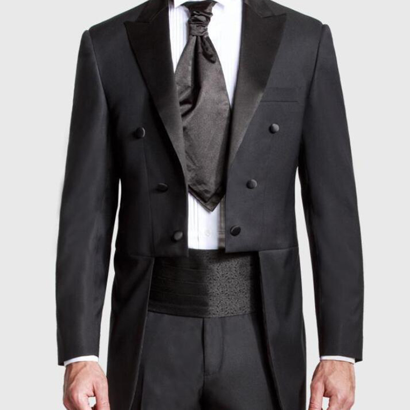 Black Wedding Men Tail Coat Double Breasted Groom Suits 2019 Peaked Lapel Long Male Clothes Suit New 2 Piece Set Jacket Pants