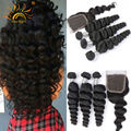 8A Virgin Unprocessed Brazilian Hair Brazilian Loose Wave With Closure 4 Bundles With Closures Remy Human Hair Brazillian Weave