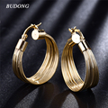 BUDONG Fashion Designer Brand Round Earring Hoop Gold Snap Closure Earrings  Gold Plated Lady Trendy Party Jewelry E412