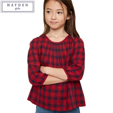 HAYDEN Plaid Shirt for Girls Teenagers Blouse Rouge 100% Cotton Teenage Girl Shirts 2017 New Plaid Shirts for Teens Kids