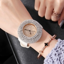 Luxury Women Watches Big Bling White Rhinestone Watch New Fashion Design Quartz Dress Wrist watch Leather Band Strap