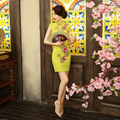Yellow Dress Short Paragraph Package Hip Fashion Sexy Daily Improvement  Slim Embroidered Retro Cheongsam Vestido De Festa 2801