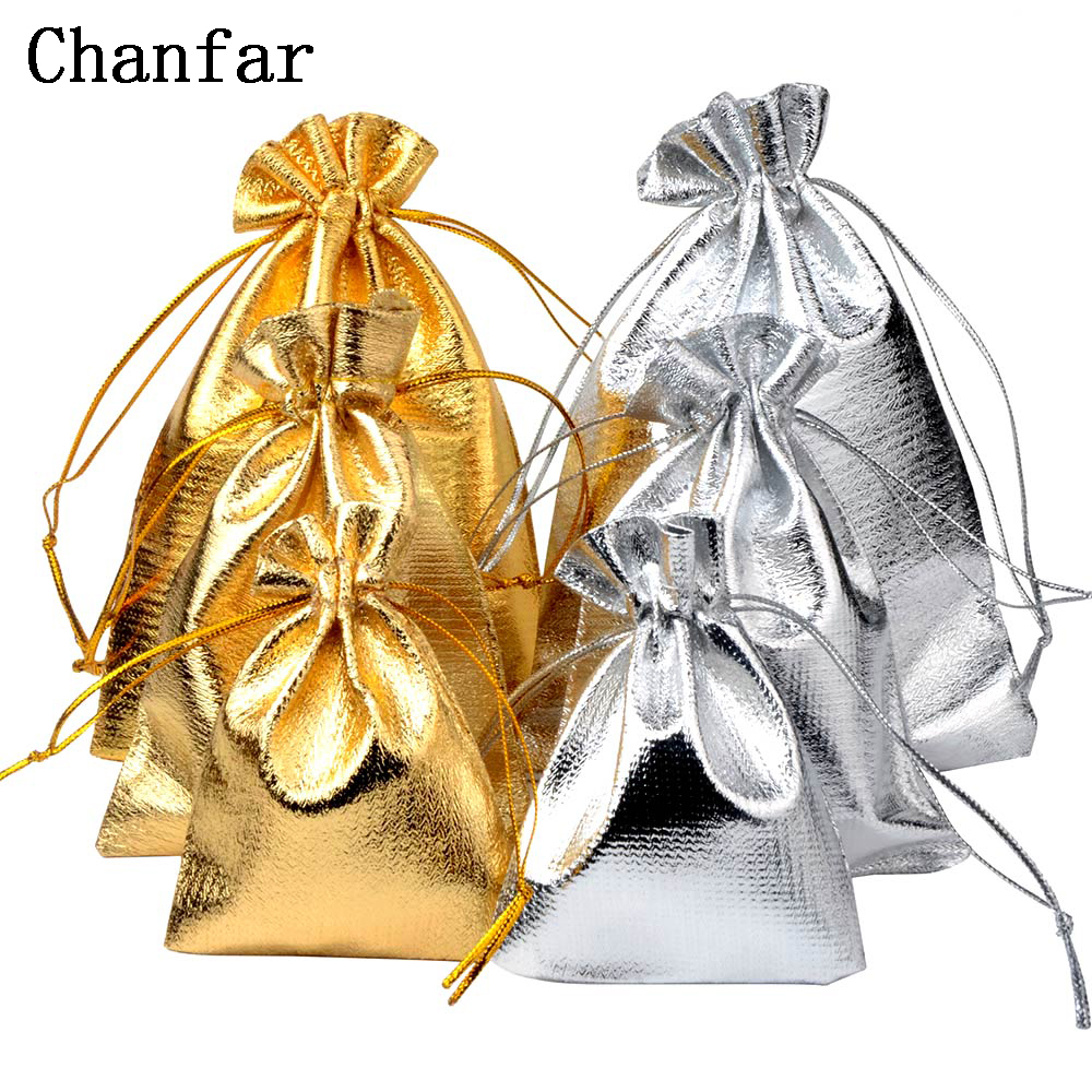 50pcs/bag 7x9cm 9x12cm 10x15cm Adjustable Jewelry Packing silver/ gold colors drawstring Velvet bag,Wedding Gift Bags & Pouches(China)