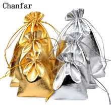 50 шт./пакет 7x9 см x 9 см x 12 см x 10x15 см регулируемая для упаковки ювелирных изделий, серебро/золото цвета бархатный мешок с кулиской, пакетик для свадебных подарков