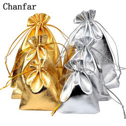 50 шт./пакет 7 x см 9 см 9x12 см 10 x см 15 Регулируемая упаковка ювелирных изделий Серебро/золото цвета бархатный мешок с кулиской, свадебный