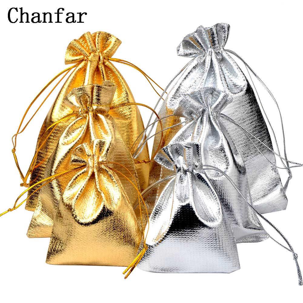 50 Pcs/7X9 Cm 9X12 Cm 10X15 Cm Adjustable Perhiasan Packing Perak/Emas warna Serut Beludru Tas hadiah Pernikahan Tas & Kantong
