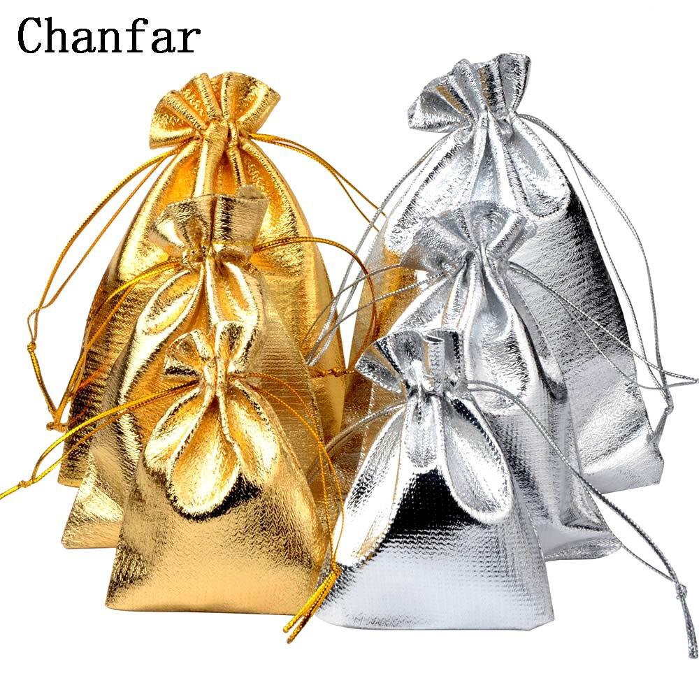 50 pçs/saco 7x9cm 9x12cm 10x15cm ajustável jóias embalagem prata/ouro cores cordão veludo saco, sacos de presente do casamento & malotes