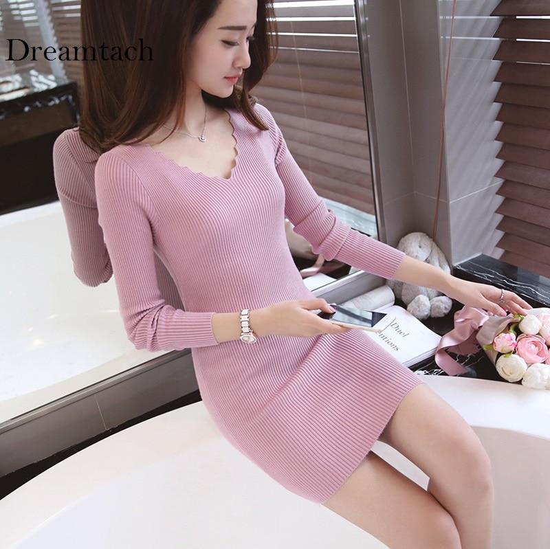Brand Autumn Winter Women Knitted Long Sleeve Sweater Pullover Women Tops Slim High Stretch V neck Girls Sexy Tees Jumper