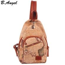 2016 mode vintage haute qualité carte du monde sac à dos femmes sac à dos sac à dos en cuir impression sac à dos
