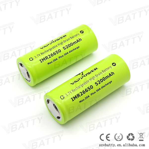 2018 Very Cheap Vappower IMR 26650 5200mah 20A 3.7V li-ion high drain rechargeable battery 26650 with flat top(1 pc)