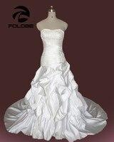 Plus Size Vestidos De Novia Custom Made Strapless Beading Appliques LaceA Line Wedding Dress Ruffles Satin Bridal Gown