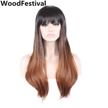 Real picture WoodFestival cosplay hair wig black brown long straight wig bangs synthetic wigs women heat resistant