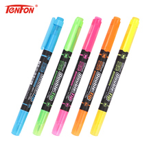 TENFON 1 Set Creative Double Head Highlighter Pen Multicolor Pens Plastic Stationery 5 Colors Marker Pen H-2301
