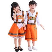 Umorden Party Bavarian Oktoberfest Costumes Boys German Beer Wench Girl Girls Waiter Cosplay Fancy Dress for Kids