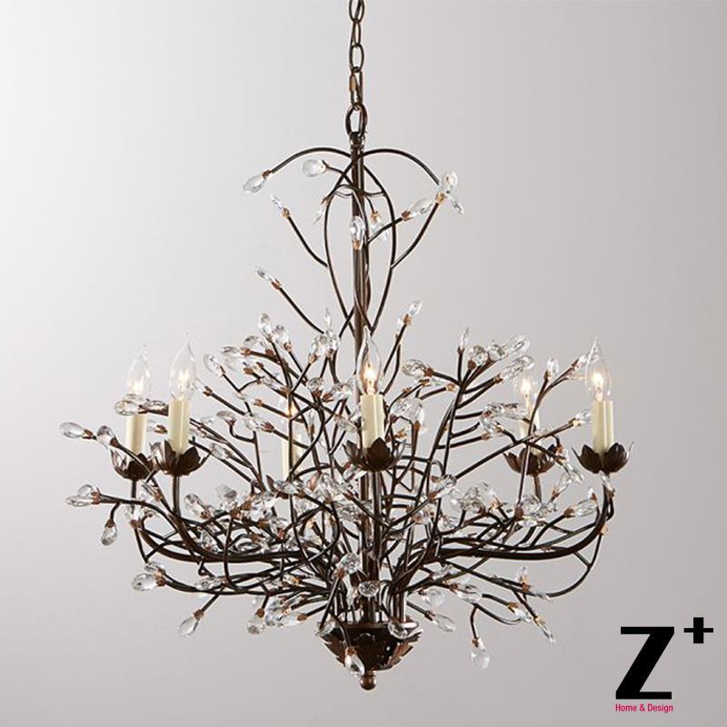 Tree Branch Chandelier 6 Arm Aged Brass Finish Country Style Iron Re K9 Crystal Lights Lamp Vintage Aliexpress Mobile