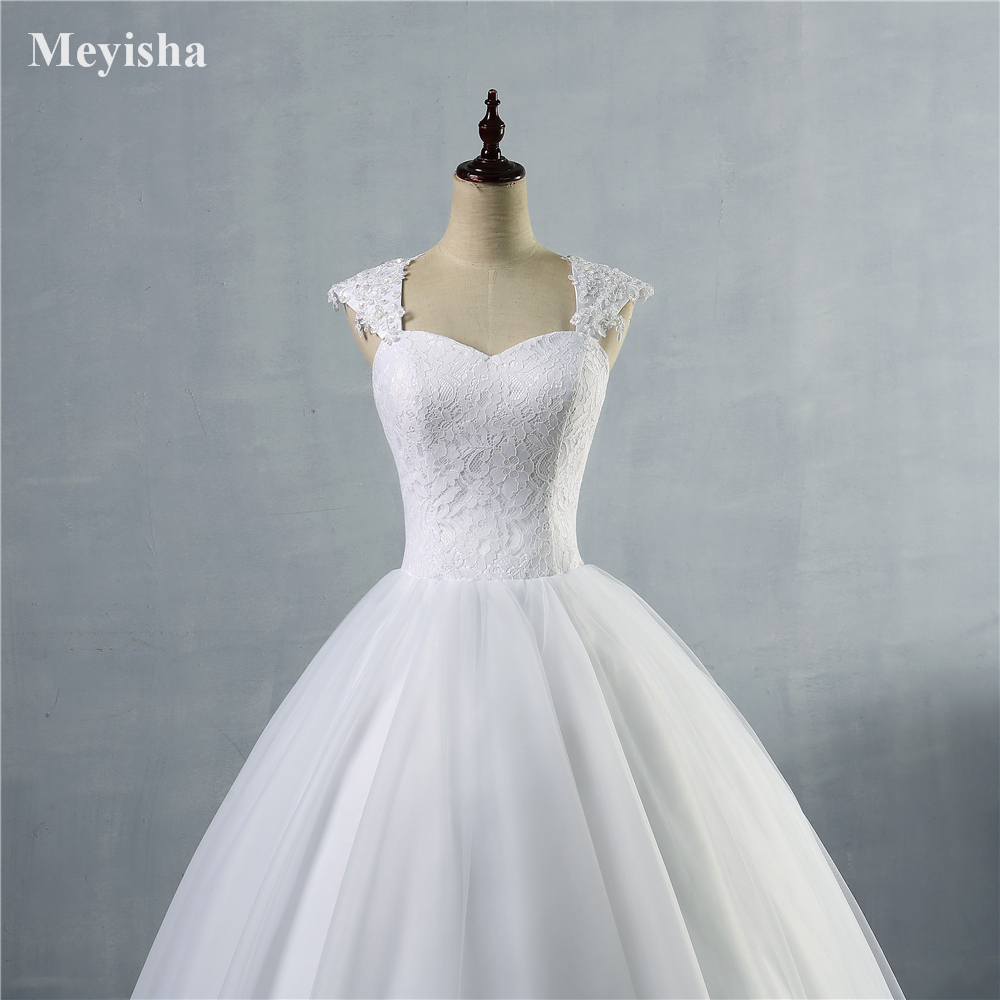 ZJ9030 Wedding Dress Lace Cap Sleeve Beaded A Line Bridal Dresses ...