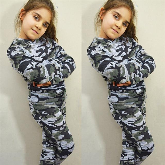 Девушки Парни Дети Камуфляж Костюм Топы Длинные Брюки Наряды Set Одежда