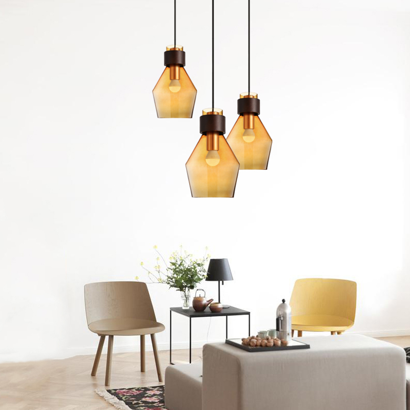Modern minimalist American Nordic pastoral creative dining room lighting glass LED Chandelier scene nordic creative bar minimalist dining room bedroom retro american single head wood japanese clothing store chandelier