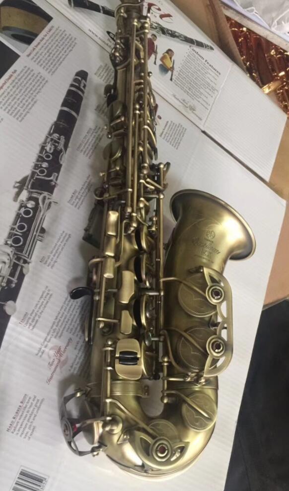 Professionnel Alto Saxophone YAS 875EX que L'original E plat Antique Cuivre Chanvre Noir Nickel Dessin Processus Musical Instrument