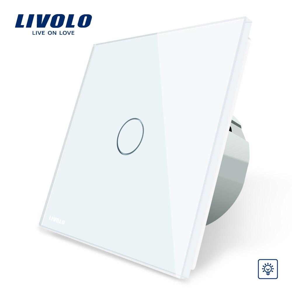Livolo стандарт ЕС Диммер настенный выключатель, AC 220 ~ 250 В, Хрустальная стеклянная панель, 1 комплект 1 способ диммер, VL C701D 1/2/3/5-in Выключатели from Товары для дома