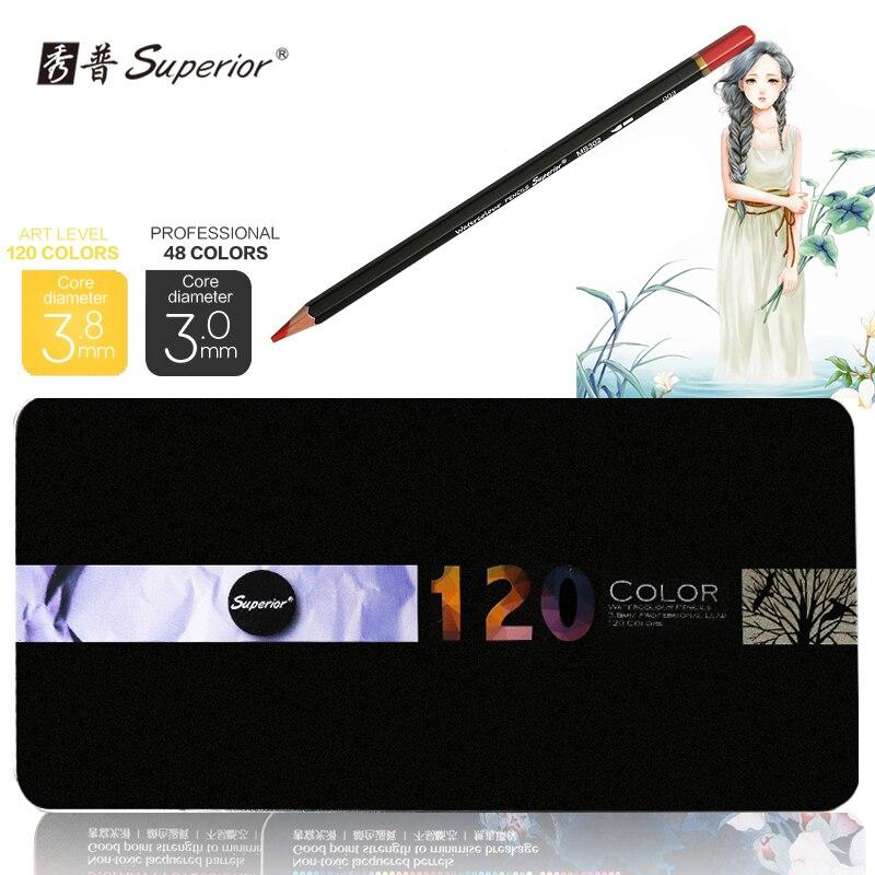 ФОТО Superior 48/120 colors Professional Watercolor Drawing pencils set Non-toxic color pencil set lapices de Art supplies for School